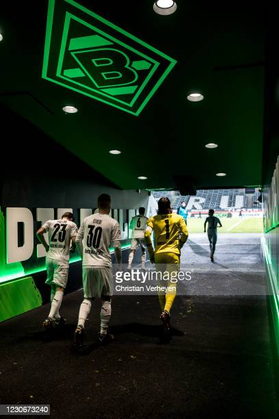 The Team of Borussia Moenchengladbach is seen before the Bundesliga match between Borussia Moenchengladbach and SV Werder Bremen at Borussia-Park on...