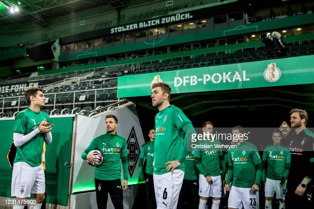 The Team of Borussia Moenchengladbach is seen before the DFB Cup Quarter Final match between Borussia Moenchengladbach and Borussia Dortmund at...