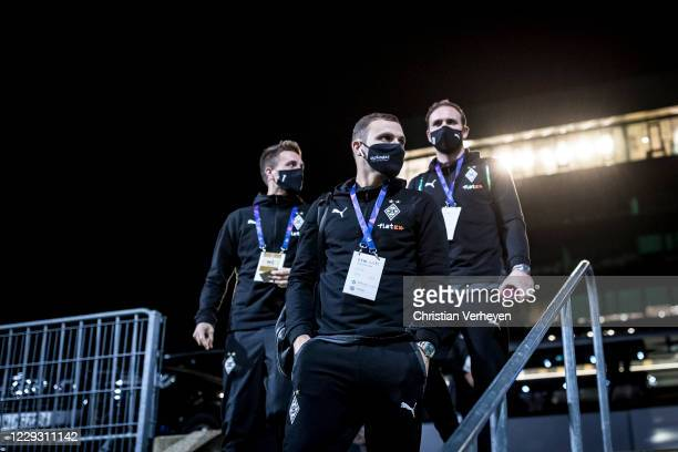 The Team of Borussia Moenchengladbach is seen before the Group B - UEFA Champions League match between Borussia Moenchengladbach and Real Madrid at...