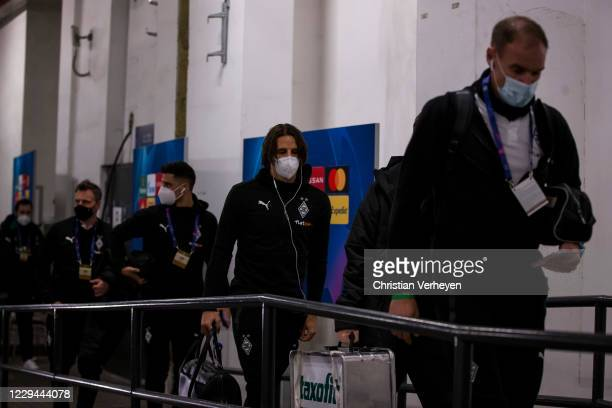 The Team of Borussia Moenchengladbach is seen before the Group B - UEFA Champions League match between Shakhtar Donetsk and Borussia Moenchengladbach...