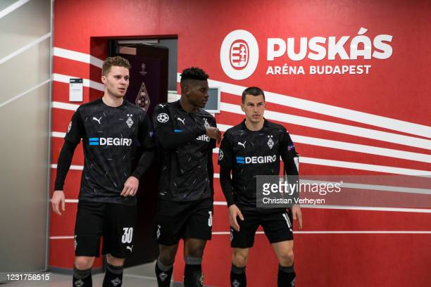 The Team of Borussia Moenchengladbach is seen before the UEFA Champions League Round Of 16 Leg Two match between Manchester City and Borussia...