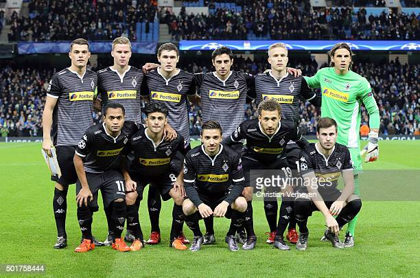 The Team of Borussia Moenchengladbach poses ahead the UEFA Champions League group D match between Manchester City FC and Borussia Moenchengladbach at...