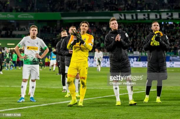 The Team of Borussia Moenchengladbach reacts after the Bundesliga match between VfL Wolfsburg and Borussia Moenchengladbach at Volkswagen Arena on...