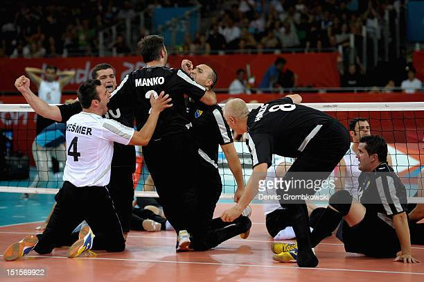 The team of Bosnia and Herzegovina celebrates during the Men's Sitting Volleyball competition on day 10 of the London 2012 Paralympic Games at ExCel...