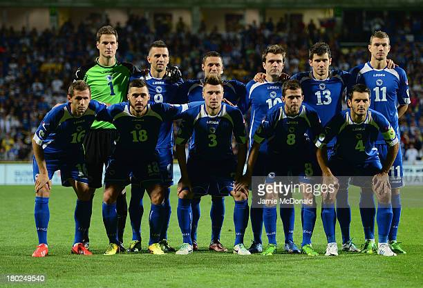 The team of Bosnia-Herzegovina pose during the FIFA 2014 World Cup Qualifying Group G match between Slovakia and Bosnia-Herzegovina at the MSK Zilina...