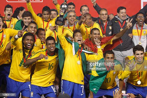 The team of Brazil celebrate the conquest of the South American U20 Championship on 12 February 2011 in Arequipa Peru