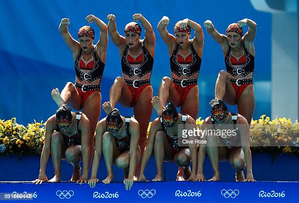 The team of Brazil compete during the Synchronised Swimming Teams Technical Routine during the Women's 10m Platform diving at the Maria Lenk Aquatics...
