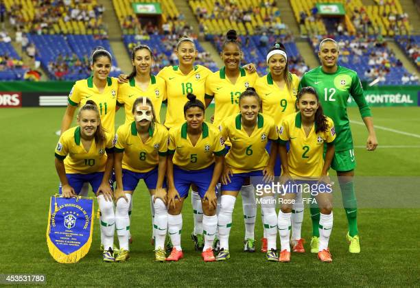 The team of Brazil line up before the FIFA U20 Women's World Cup 2014 group B match between Brazil and Germany at Olympic Stadium on August 12 2014...