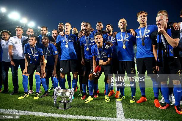 The team of Brugge celebrates winning 21 the Supercup match between Club Brugge and Standrad Liege at JanBreydelStadium on July 23 2016 in Brugge...