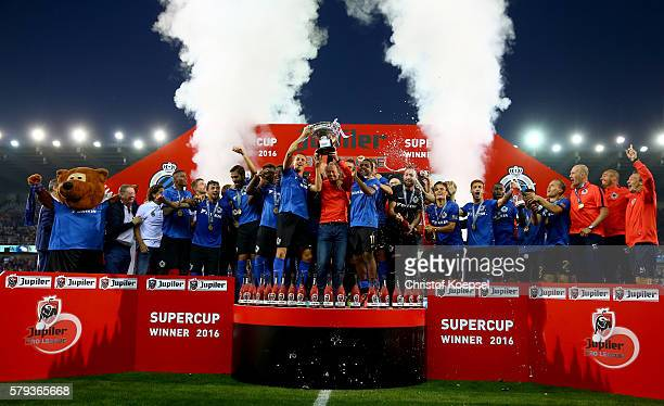The team of Brugge lifst the tropyh after winning 21 the Supercup match between Club Brugge and Standrad Liege at JanBreydelStadium on July 23 2016...