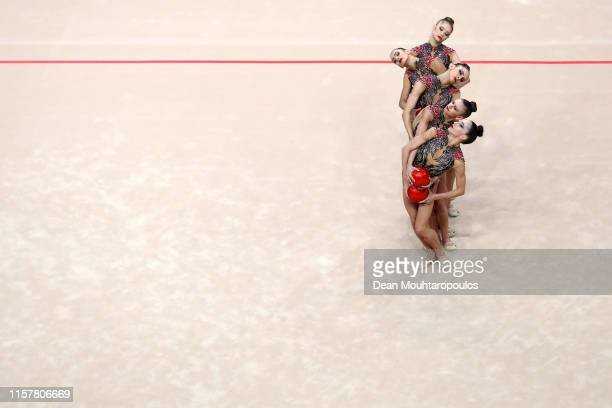 The team of Bulgaria compete in the Rhythmic Gymnastics Women's Group Multiple Competition 5 Balls Final during the 2nd European Games held in the...