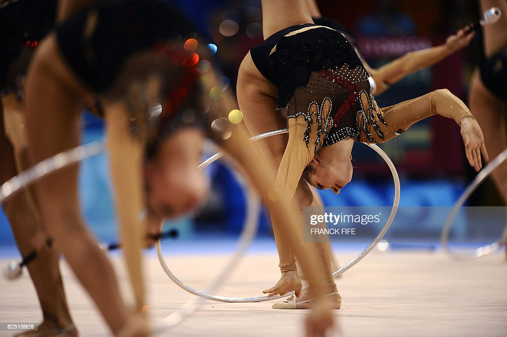 The team of Bulgaria competes in the group all-around qualification of the rhythmic gymnastics at the Beijing 2008 Olympic Games in Beijing on August 22, 2008.