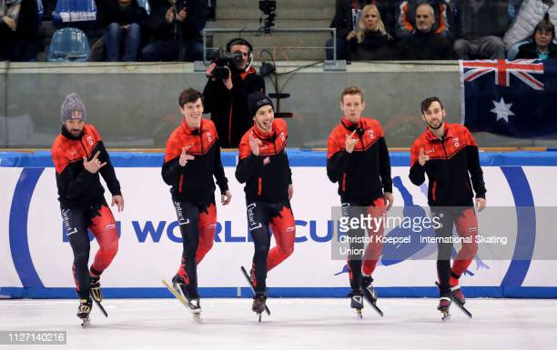 The team of Canada celebrates winning the men 5000 meter relay final A during the ISU Short Track World Cup Day 2 at EnergieVerbund Arena on February...