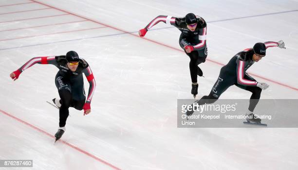 The team of Canada with Gilmore Junio Alex BoisvertLacroix and Vincent de Haitre competes in the men team sprint during Day 3 of the ISU World Cup...