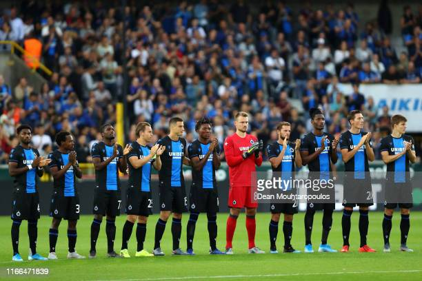 The team of Club Brugge KV pay tribute to the late Belgian cyclist, Bjorg Lambrecht prior to the UEFA Champions League, Third qualifying round 1st...