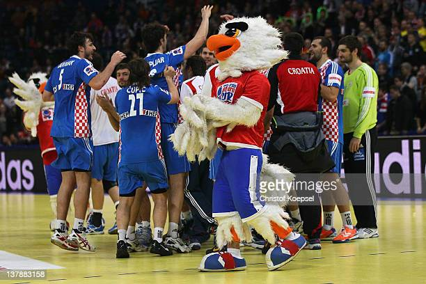 The team of Croatia celebrates after the Men's European Handball Championship bronze medal match between Croatia and Spain at Beogradska Arena on...