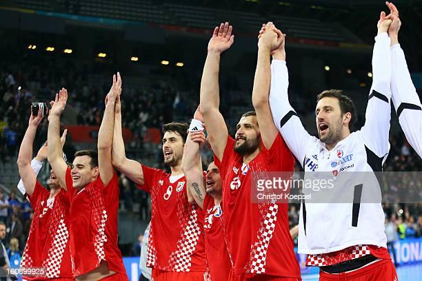 The team of Croatia celebrates after the Men's Handball World Championship 2013 third place match between Slovenia and Croatia at Palau Sant Jordi on...