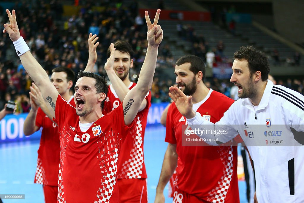 The team of Croatia celebrates after the Men's Handball World Championship 2013 third place match between Slovenia and Croatia at Palau Sant Jordi on January 26, 2013 in Barcelona, Spain. The match between Slovenija and Croatia ended 26-31.