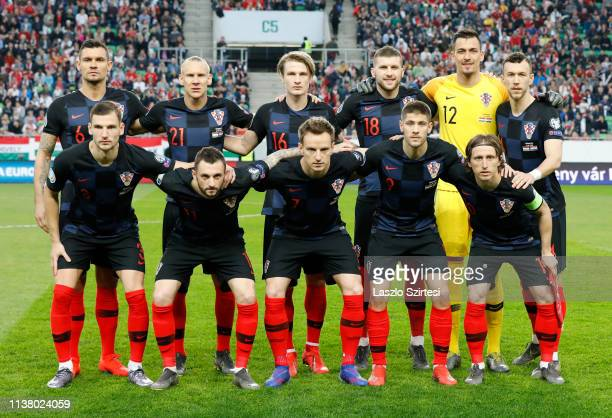The team of Croatia upper row Dejan Lovren Domagoj Vida Tin Jedvaj Ante Rebic Lovre Kalinic Ivan Perisic bottom row Borna Barisic Marcelo Brozovic...