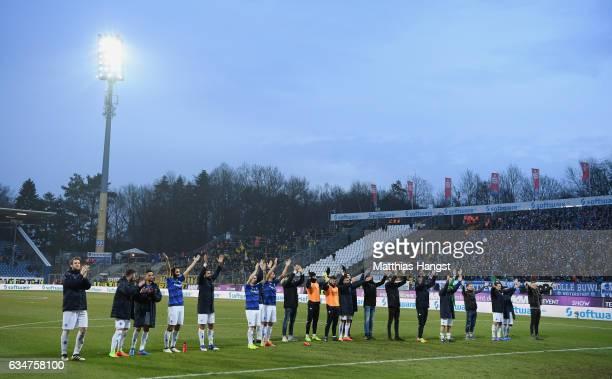 The team of Darmstadt celebrate after the Bundesliga match between SV Darmstadt 98 and Borussia Dortmund at Stadion am Boellenfalltor on February 11...