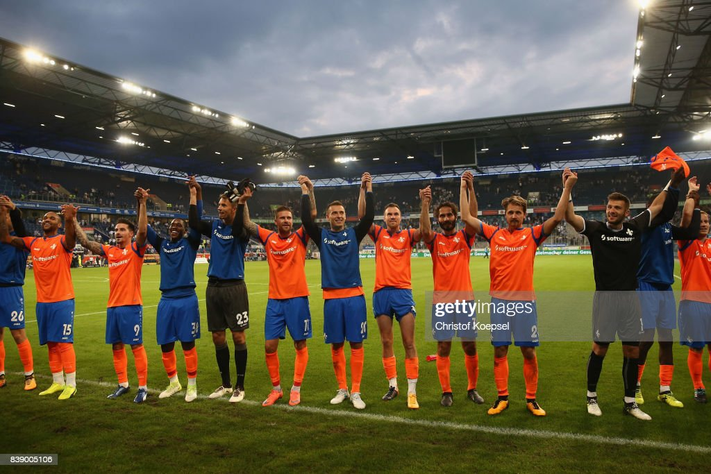 The team of Darmstadt celebrates after uring the Second Bundesliga match between MSV Duisburg and SV Darmstadt 98 at Schauinsland-Reisen-Arena on August 25, 2017 in Duisburg, Germany. The match between Duisburg and Darmastadt ended 1-2.