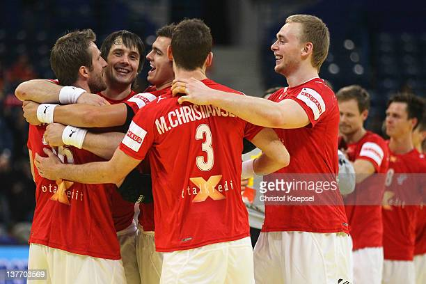 The team of Denmark celebrates the 3332 victory after the Men's European Handball Championship second round group one match between Denmark and...