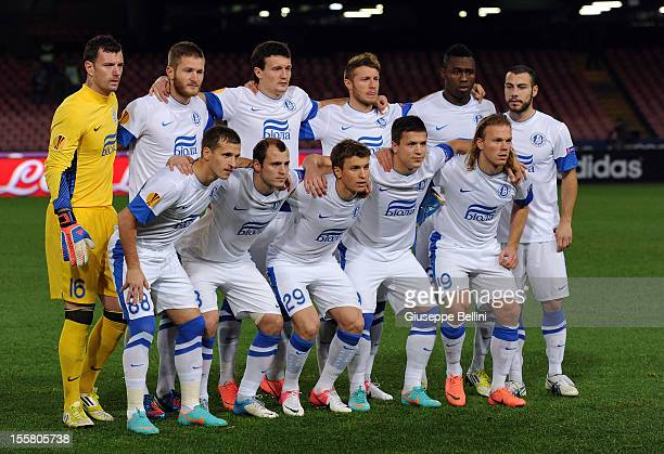 The team of Dnipro Dnipropetrovsk before the UEFA Europa League Group F match between SSC Napoli and FC Dnipro Dnipropetrovsk at Stadio San Paolo on...