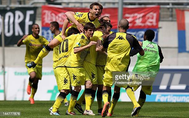 The team of Dortmund celebrate Mario Vrancic's first goal during the Regionalliga West match between Wuppertaler SV and Borussia Dortmund II at...