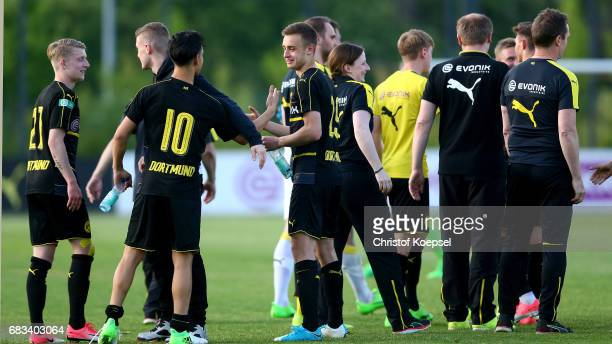 The team of Dortmund celebrates after wiinning the U19 German Championship Semi Final second leg match between Borussia Dortmund and VfL Wolfsburg at...