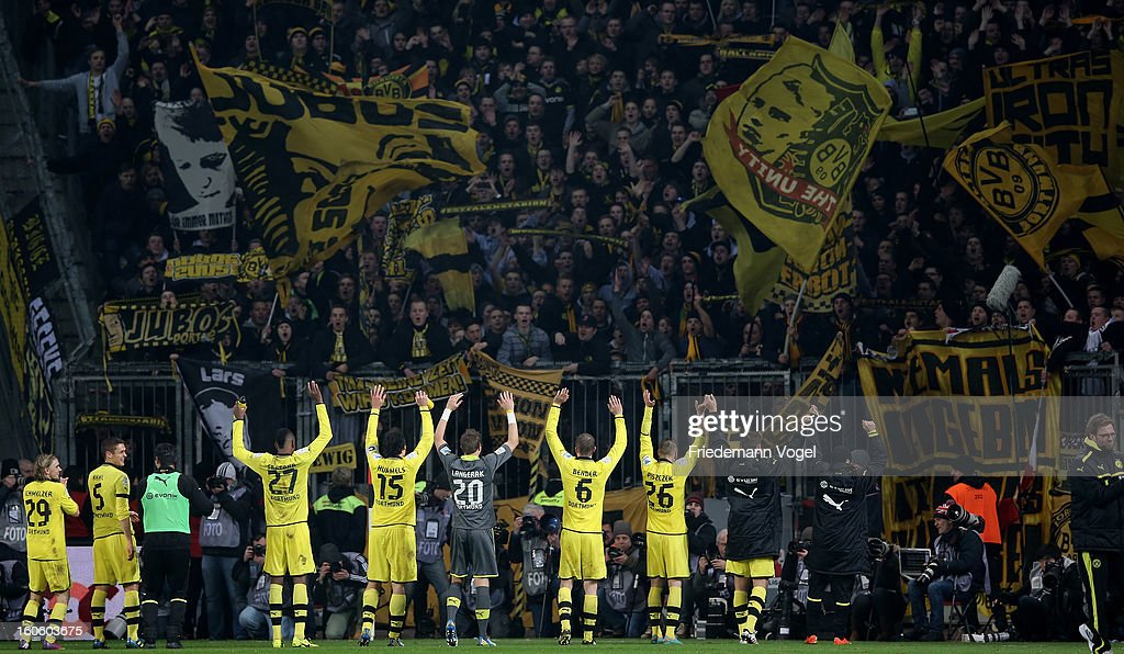 The team of Dortmund celebrates after winning the Bundesliga match between Bayer 04 Leverkusen and Borussia Dortmund at BayArena on February 3, 2013 in Leverkusen, Germany.