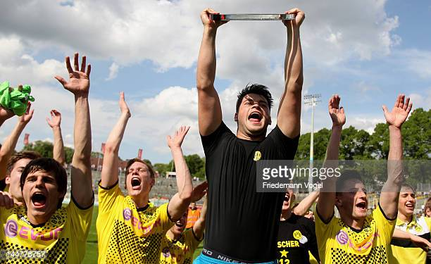 The team of Dortmund celebrates after winning the Regionalliga West match between Wuppertaler SV and Borussia Dortmund II at Stadion am Zoo on May 19...