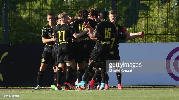 The team of Dortmund celebrates the first goal during the U19 German Championship Semi Final second leg match between Borussia Dortmund and VfL...