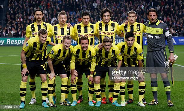 The team of Dortmund lines up prior to the UEFA Champions League Group D match between Ajax Amsterdam and Borussia Dortmund at Amsterdam Arena on...