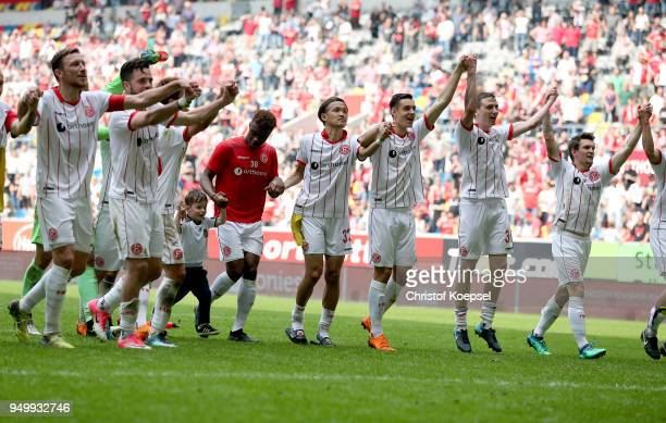 The team of Duesseldorf celebrates after the Second Bundesliga match between Fortuna Duesseldorf and FC Ingolstadt 04 at EspritArena on April 22 2018...