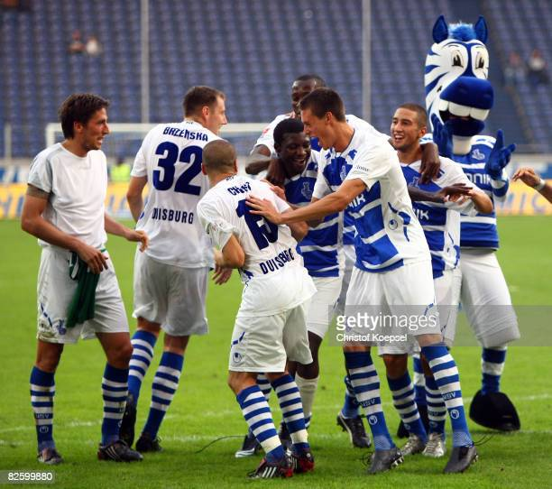 The team of Duisburg celebrates the 20 victory after the 2nd Bundesliga match between MSV Duisburg and FC Augsburg at the MSV Arena on August 29 2008...