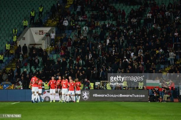 The team of England celebrates after score a goal. England, during the UEFA EURO 2020 Qualifications Bulgaria v England at Vasil Levski National...