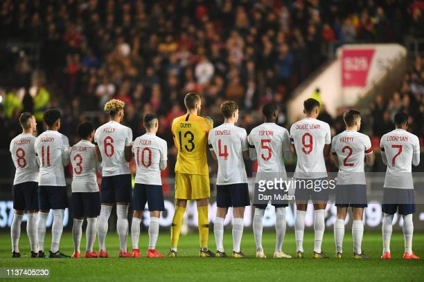 The team of England line up during the U21 International Friendly match between England and Poland at Ashton Gate on March 21 2019 in Bristol England