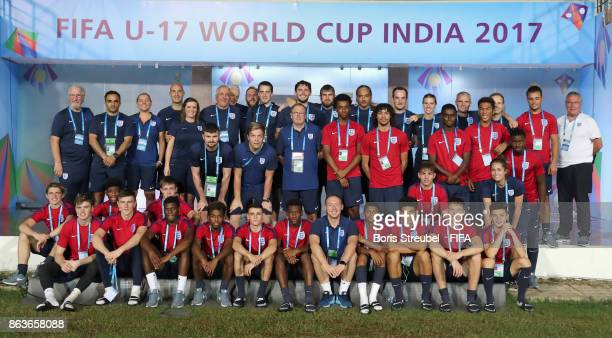 The team of England pose during their visit of the stadium on matchday 1 during the FIFA U17 World Cup India 2017 tournament at Pandit Jawaharlal...