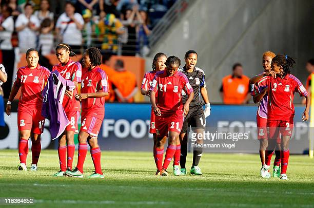 The team of Equatorial Guinea look dejected after the FIFA Women's World Cup 2011 Group D match between Equatorial Guinea and Brazil at FIFA World...
