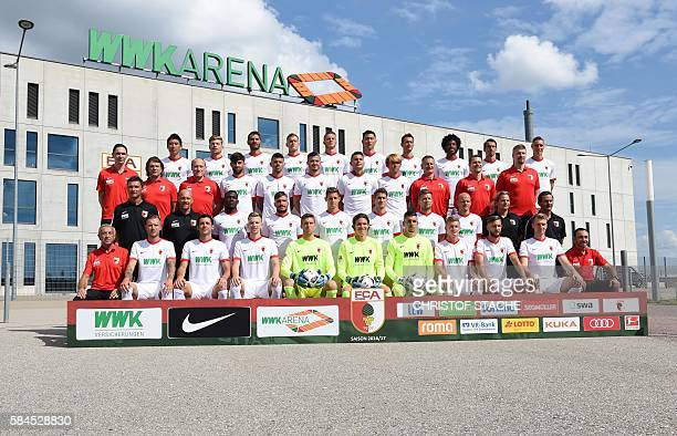 The team of FC Augsburg 1907 back row Korean midfielder JaCheol Koo Augsburg's midfielder Alexander Esswein Augsburg's Turkish midfielder Halil...