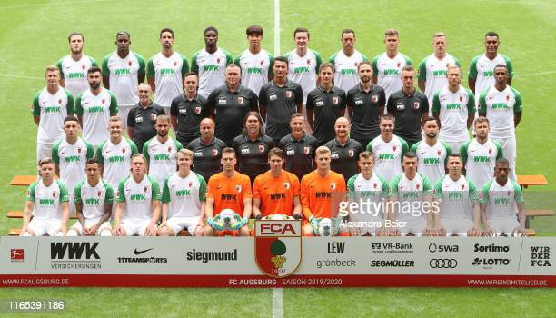 The team of FC Augsburg poses during the team presentation at WWK-Arena on July 31, 2019 in Augsburg, Germany. Front row L-R: Mads Pedersen, Amaral...
