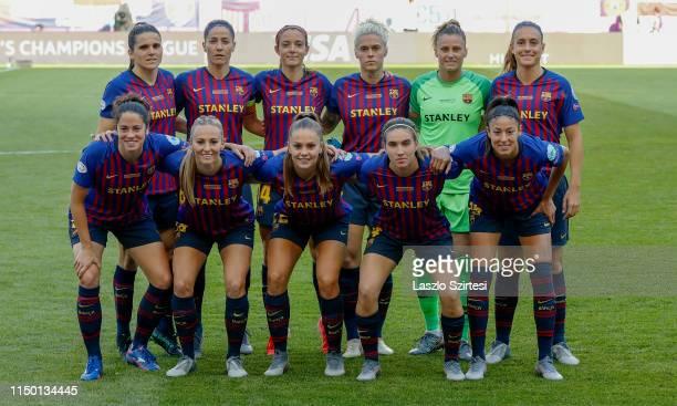 The team of FC Barcelona upper row Andrea Pereira Alexia Putellas Aitana Bonmati Vicky Losada Maria Leon Sandra Panos v#2 bottom row Marta Torrejon...