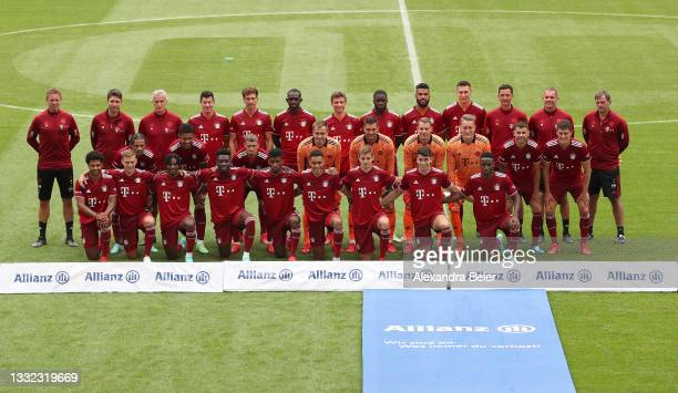 The team of FC Bayern München poses during the team presentation at Allianz Arena on August 04, 2021 in Munich, Germany.