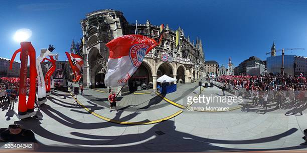 The team of FC Bayern Muenchen celebrates winning the German Championship and the DFB Cup 2016 on the town hall balcony at Marienplatz on May 22 2016...