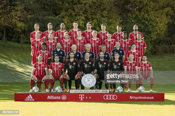 The team of FC Bayern Muenchen poses during the official team presentation at Saebener Strasse training ground on October 16 2017 in Munich Germany...