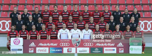 The team of FC Ingolstadt poses during the team presentation at Audi Sportpark stadium on July 8 2017 in Ingolstadt Germany front row Almog Cohen...