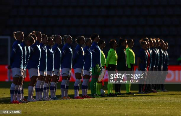 The team of Finland and of Slovakia line up ahead of the FIFA Women's World Cup 2023 Qualifier group A match between Finland and Slovakia at Veritas...