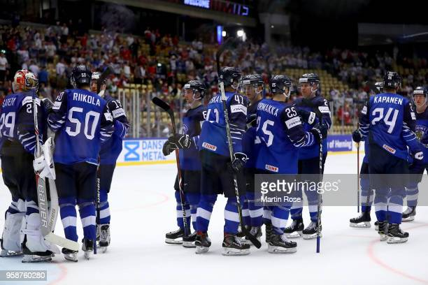 The team of Finland celebrate after the 2018 IIHF Ice Hockey World Championship Group B game between Finland and United States at Jyske Bank Boxen on...