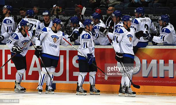 The team of Finland celebrate their opening goal during the IIHF World Championship quarter final match between Finland and Czech Republic at Lanxess...