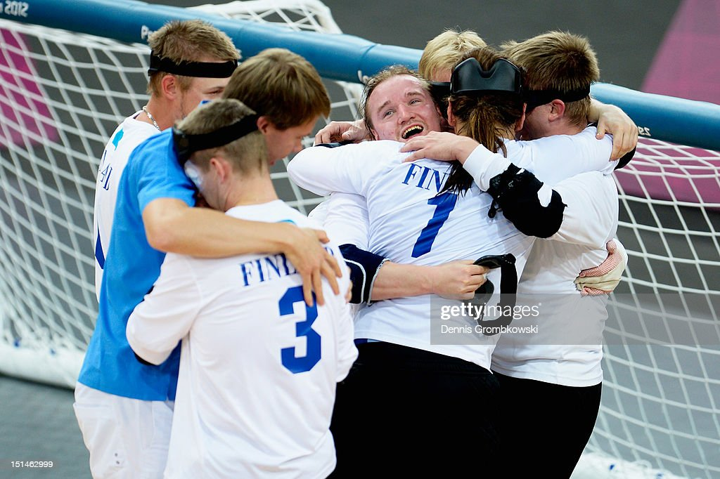 The team of Finland celebrates after winning their Men's Team Goalball Gold Medal match against Brazil on day 9 of the London 2012 Paralympic Games at The Copper Box on September 7, 2012 in London, England.
